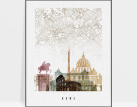 Rome map print poster watercolor 1