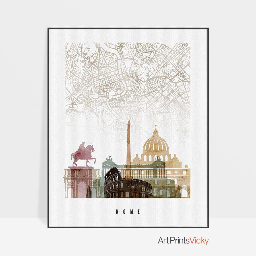 Rome map print poster watercolor 1
