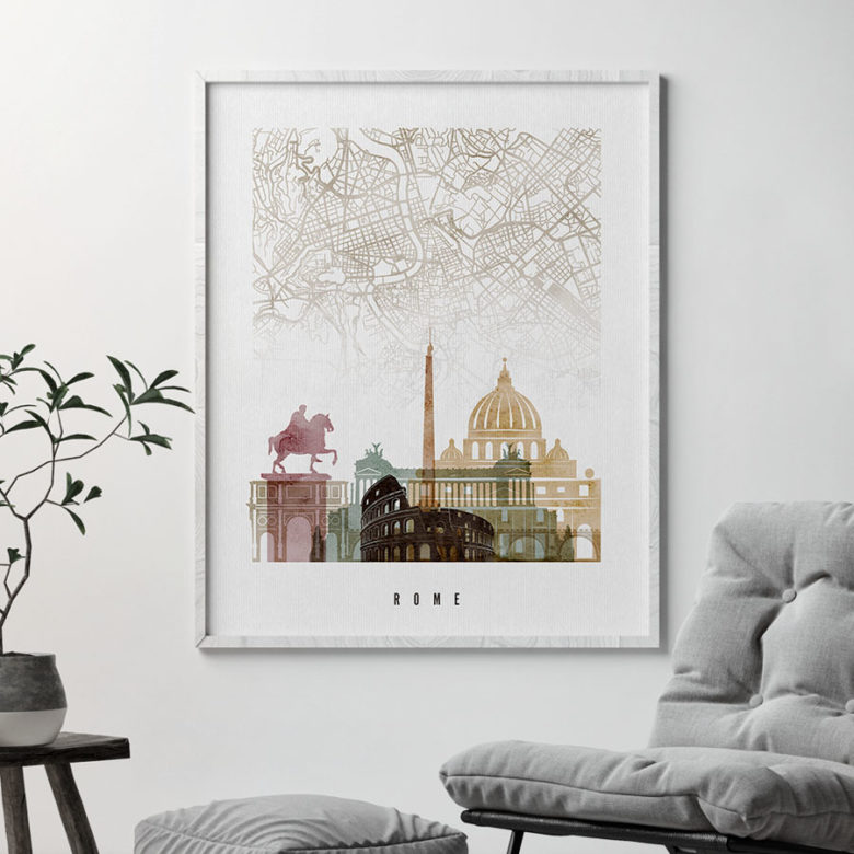 Rome map print poster watercolor 1 second
