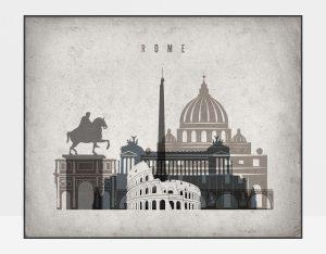 Rome art print landscape retro
