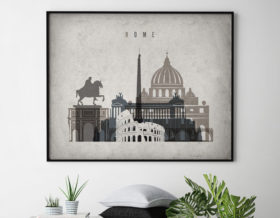 Rome art print landscape retro second