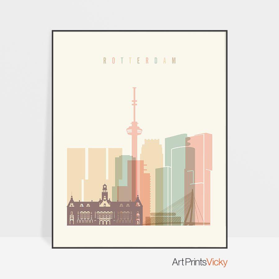 Rotterdam art print skyline pastel cream