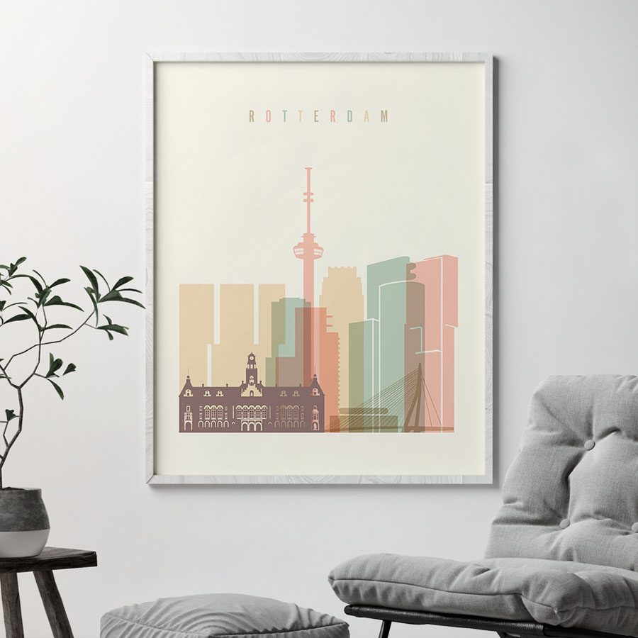Rotterdam art print skyline pastel cream second