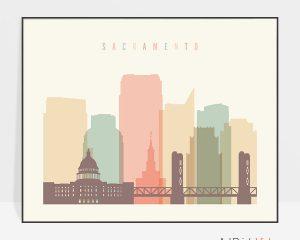 Sacramento poster skyline pastel cream landscape