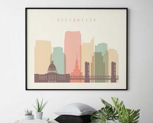 Sacramento poster skyline pastel cream landscape second