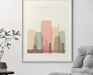 Sacramento art print skyline pastel cream second