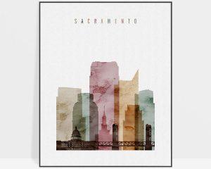 Sacramento skyline art watercolor 1