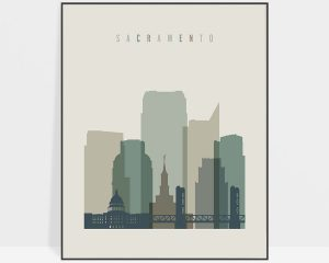 Sacramento print skyline earth tones 1