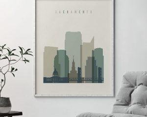 Sacramento print skyline earth tones 1 second