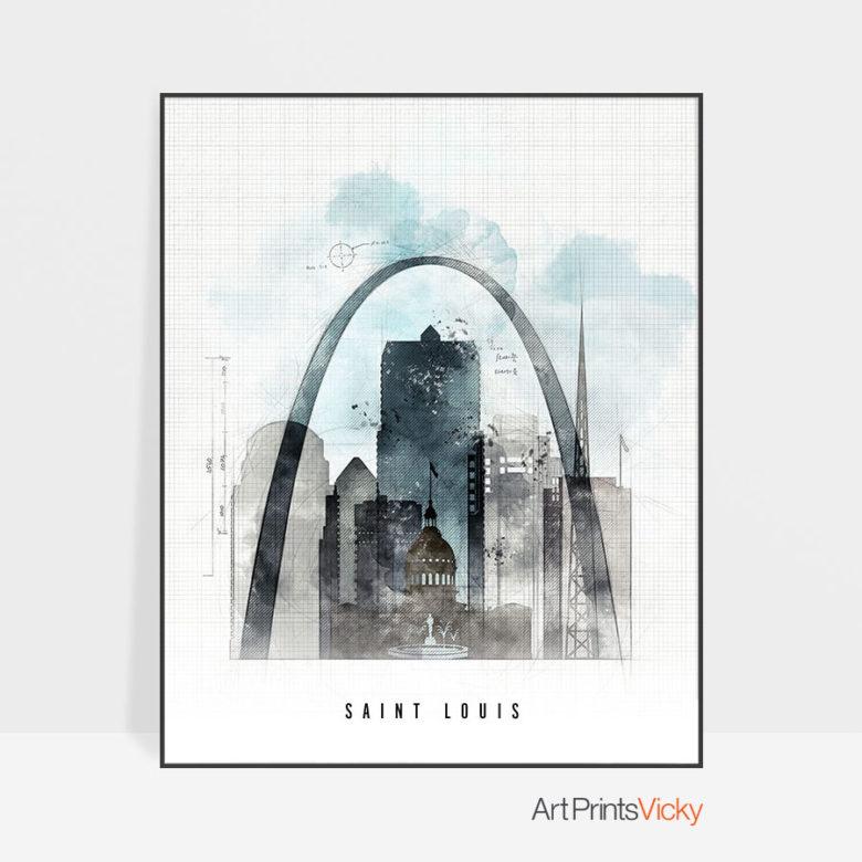 Saint Louis skyline art print urban