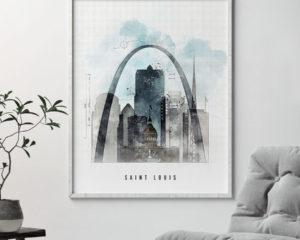 Saint Louis skyline art print urban second
