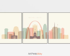 Saint Louis skyline set of 3 prints pastel cream