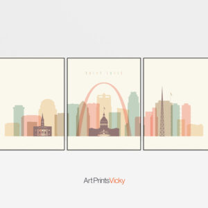 Saint Louis skyline set of 3 prints pastel cream