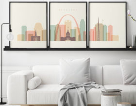 Saint Louis skyline set of 3 prints pastel cream second