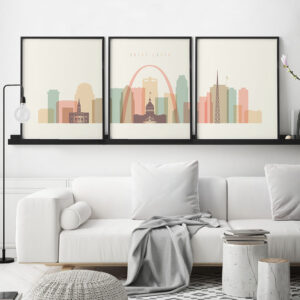 Saint Louis skyline set of 3 prints pastel cream second