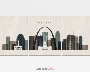 Saint Louis triptych wall art distressed 2
