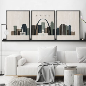 Saint Louis triptych wall art distressed 2 second