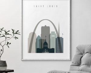 Saint Louis art print skyline earth tones 4 second