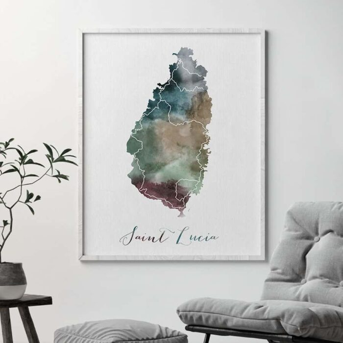 Saint Lucia map print second