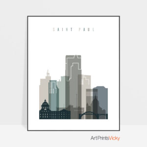 Saint Paul art print skyline earth tones 4