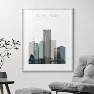 Saint Paul art print skyline earth tones 4 second