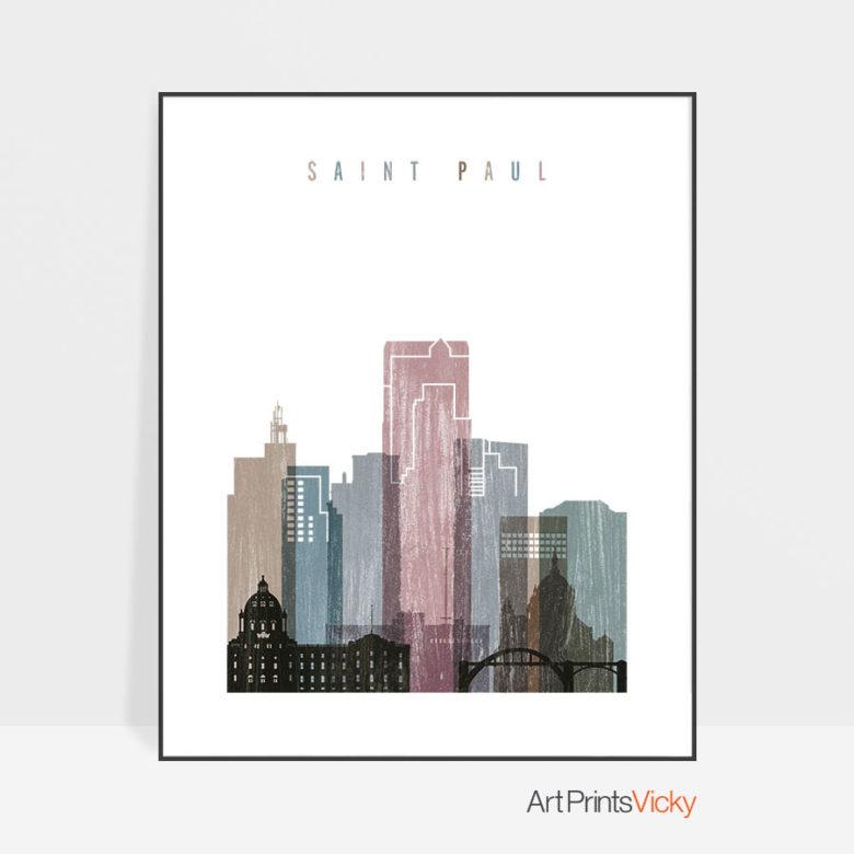 Saint Paul skyline poster distressed 1
