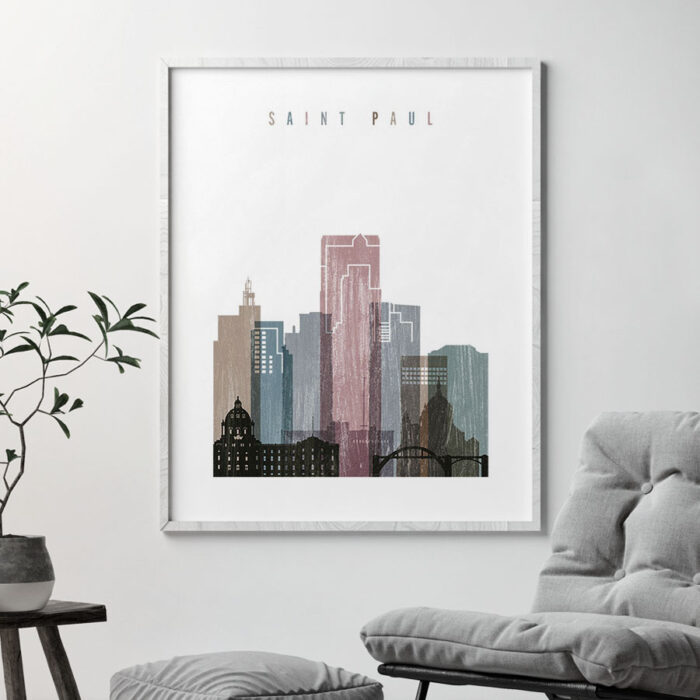 Saint Paul skyline poster distressed 1 second