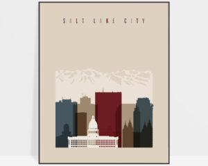 Salt Lake City poster earth tones 2