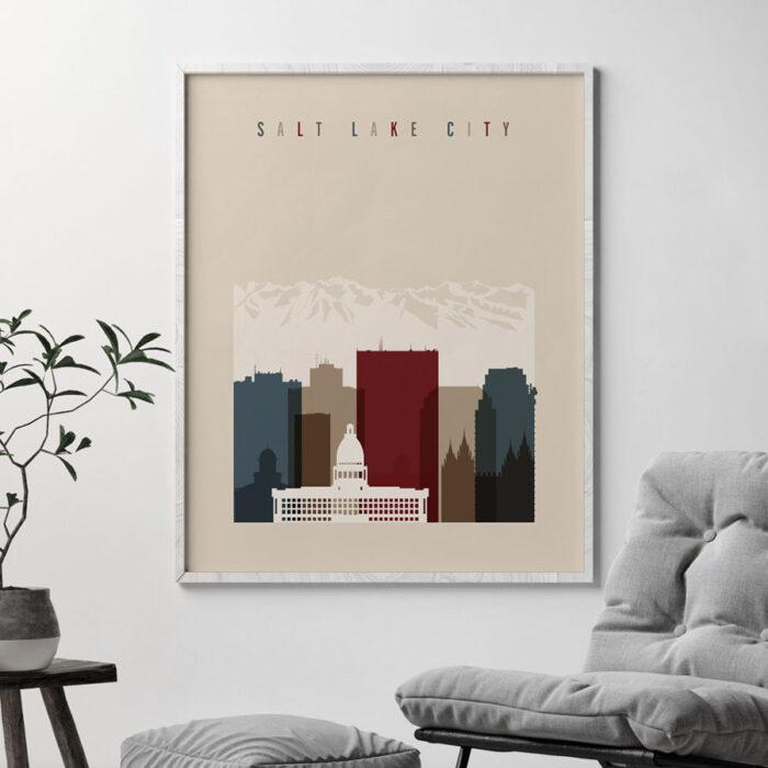 Salt Lake City poster earth tones 2 second