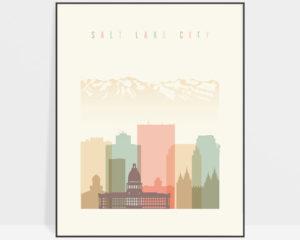 Salt Lake City art print skyline pastel cream