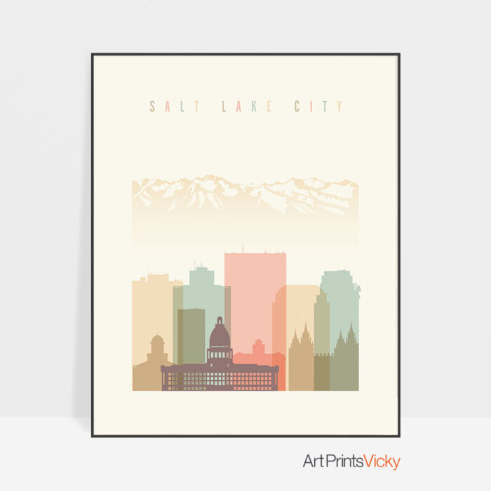 Salt Lake City art print skyline pastel cream