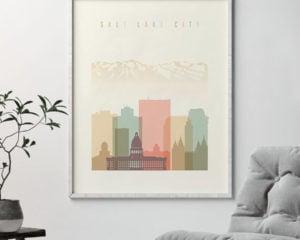 Salt Lake City art print skyline pastel cream second