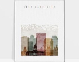 Salt Lake City poster watercolor 1