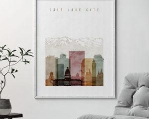 Salt Lake City poster watercolor 1 second