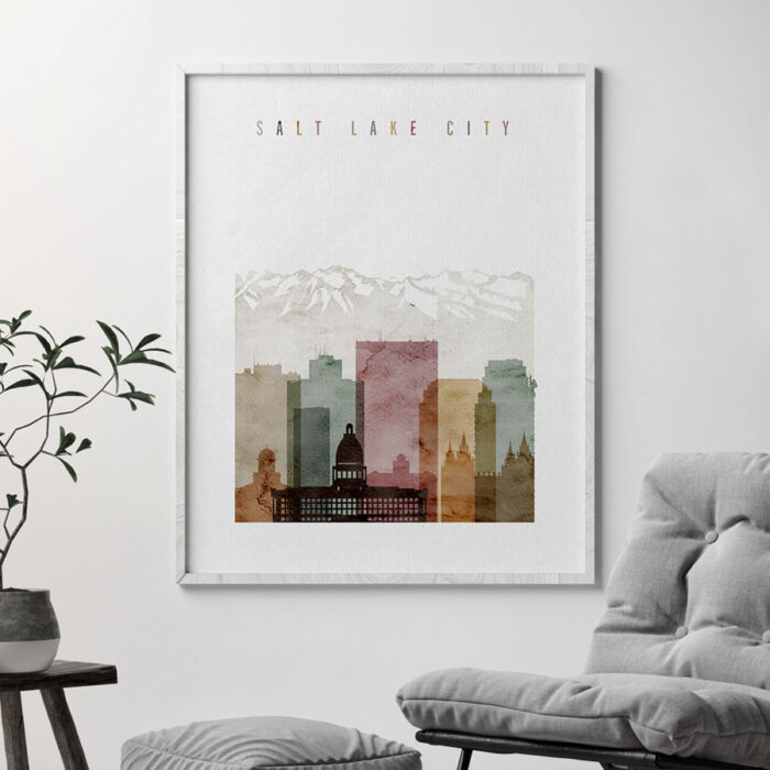 Salt Lake City poster watercolor 1 second