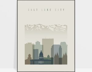 Salt Lake City print skyline earth tones 1