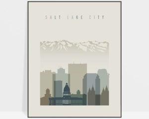 Salt Lake City print skyline earth tones 1