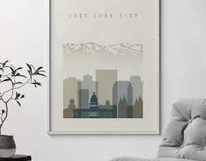 Salt Lake City print skyline earth tones 1 second
