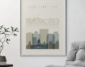 Salt Lake City print skyline earth tones 1 second