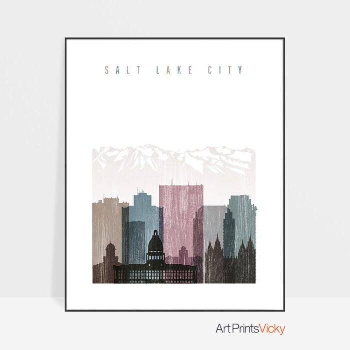 Salt Lake City skyline poster distressed 1