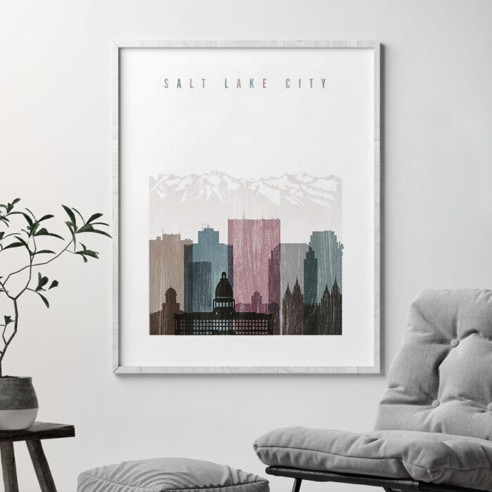 Salt Lake City skyline poster distressed 1 second