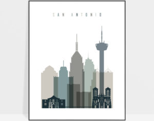 San Antonio art print skyline earth tones 4