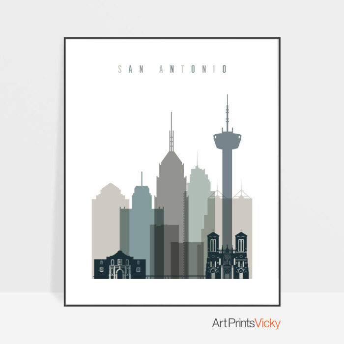 San Antonio art print skyline earth tones 4
