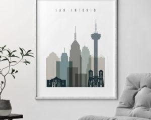 San Antonio art print skyline earth tones 4 second