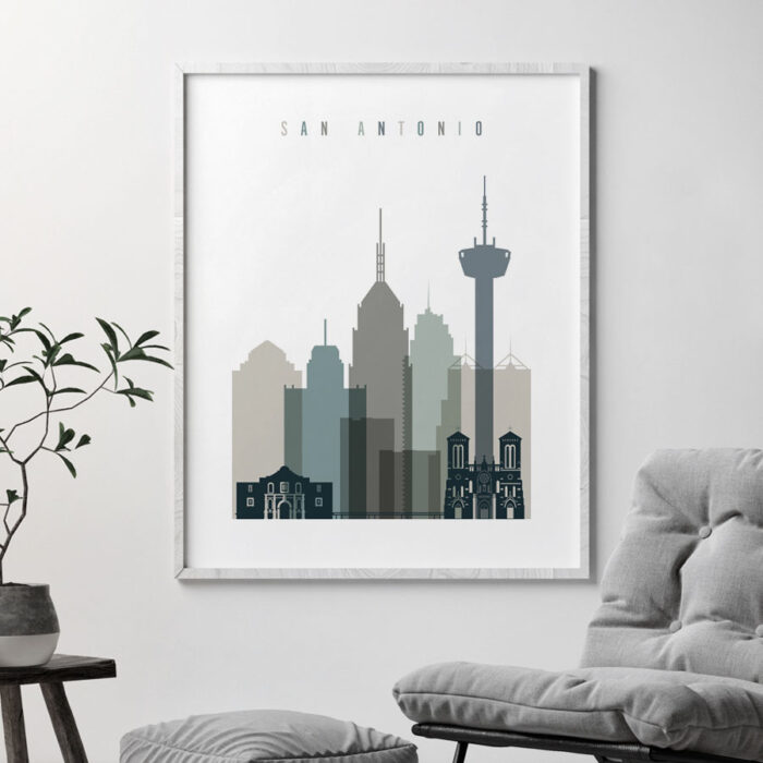 San Antonio art print skyline earth tones 4 second