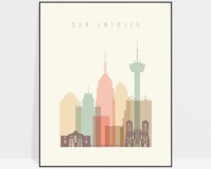 San Antonio poster skyline pastel cream