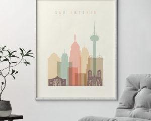 San Antonio poster skyline pastel cream second