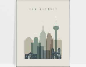 San Antonio print skyline earth tones 1