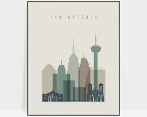 San Antonio print skyline earth tones 1