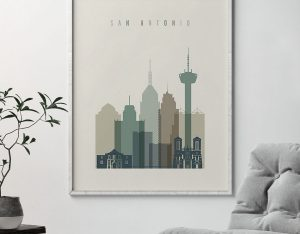 San Antonio print skyline earth tones 1 second